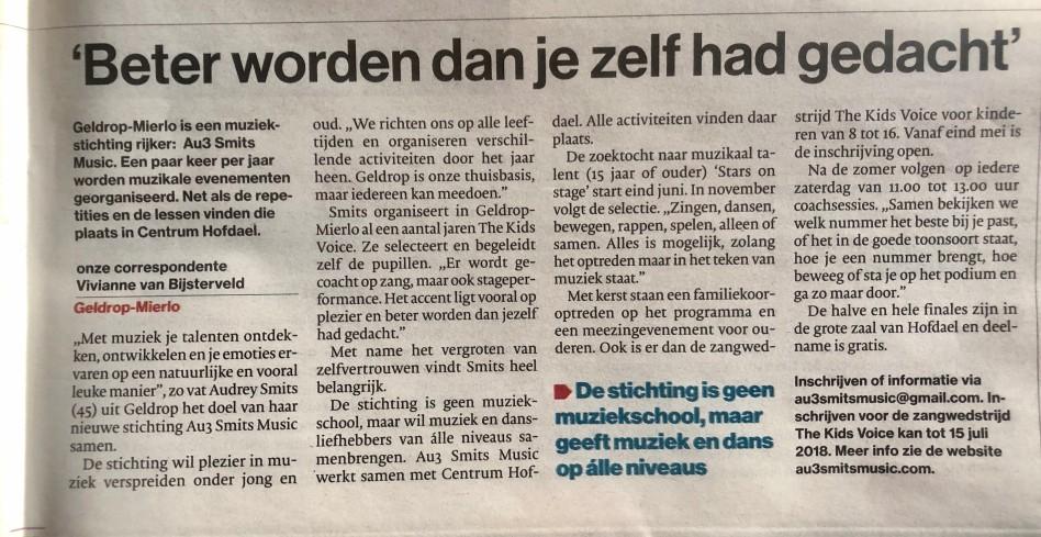 Artikel in Eindhovens Dagblad